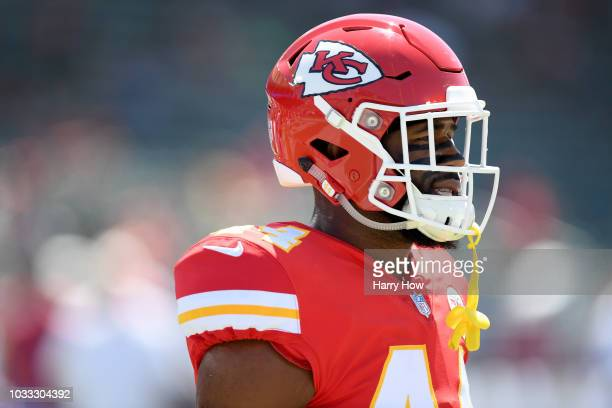 Dorian O'Daniel of the Kansas City Chiefs warms up before the game against the Los Angeles Chargers at StubHub Center on September 9 2018 in Carson...
