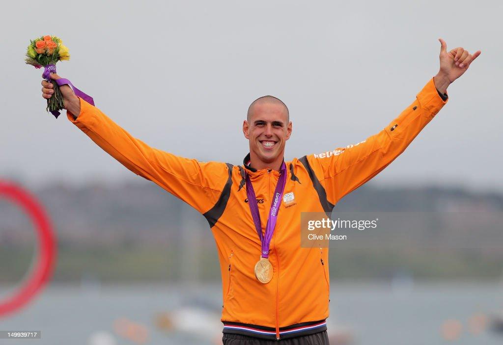 Dorian Van Rijsselberge of Netherlands celebrates after winning gold in the Men's