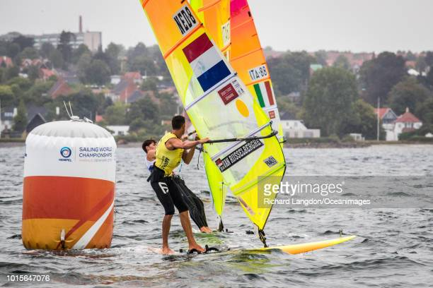 Dorian van Rijsselberghe from the Dutch Olympic Sailing Team wins gold medal at the 2018 ISAF Sailing World Championships on August 12 2018 in Aarhus...