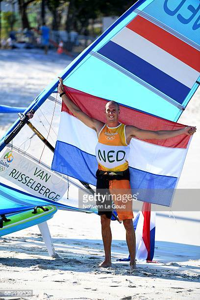 Dorian van Rijsselberghe of Netherland winner of the Men's RSX class on Day 9 of the Rio 2016 Olympic Games at Marina da Gloria on August 14 2016 in...