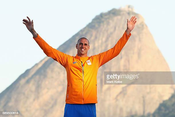 Dorian van Rijsselberghe of the Netherlands celebrates winning gold medal in the Men's RSX class on Day 9 of the Rio 2016 Olympic Games at the Marina...