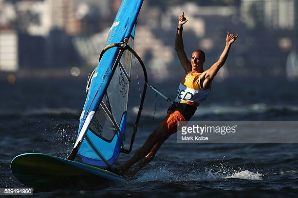 Dorian van Rijsselberghe of the Netherlands celebrates winning the overall Men's RSX class on Day 9 of the Rio 2016 Olympic Games at the Marina da...