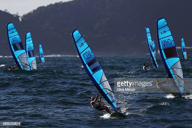 Dorian van Rijsselberghe of the Netherlands competes in the Men's RSX class on Day 7 of the Rio 2016 Olympic Games at Marina da Gloria on August 12...