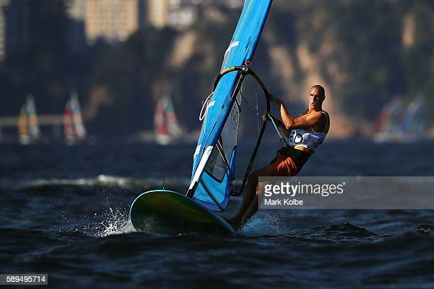 Dorian van Rijsselberghe of the Netherlands competes on his way to winning the overall Men's RSX class on Day 9 of the Rio 2016 Olympic Games at the...