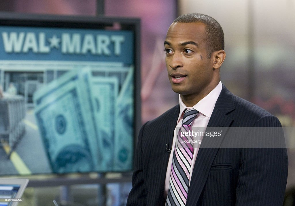 Dorian Warren, an assistant professor of political science at Columbia University, speaks during a television interview in New York, U.S., on Monday, Aug. 2, 2010. Warren said Wal-Mart has been persistent in seeking approval to open a third store in Chicago. Photographer: Jonathan Fickies/Bloomberg via Getty Images