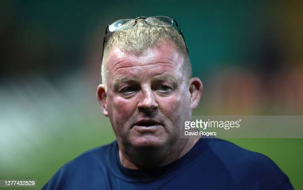 Dorian West the Sale Sharks scrum coach looks on during the Gallagher Premiership Rugby match between Northampton Saints and Sale Sharks at...