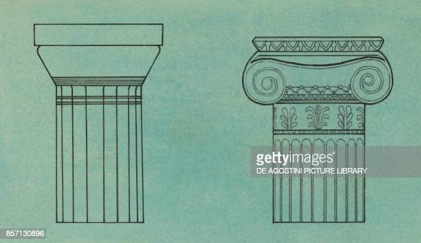Doric capital and Ionic capital Greek civilization drawing