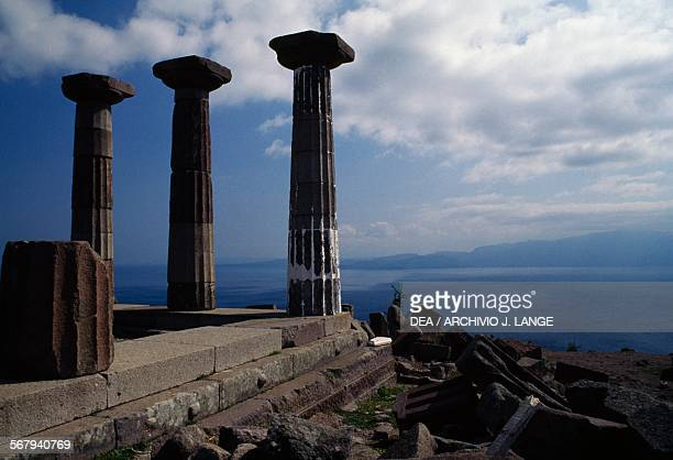 Doric columns of the Temple of Athena on the Acropolis of Assos 530 BC Turkey Greek civilisation 6th century BC