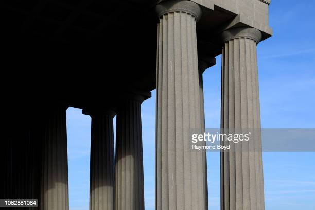 Doric columns rising above the East entrance to Soldier Field home of the Chicago Bears football team in Chicago Illinois on December 11 2018