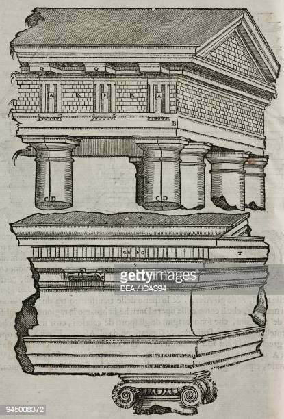 Doric trabeation with triglyphs and modillions ionic trabeation with dentil cornices engraving from I dieci libri d'architettura secondo i precetti...