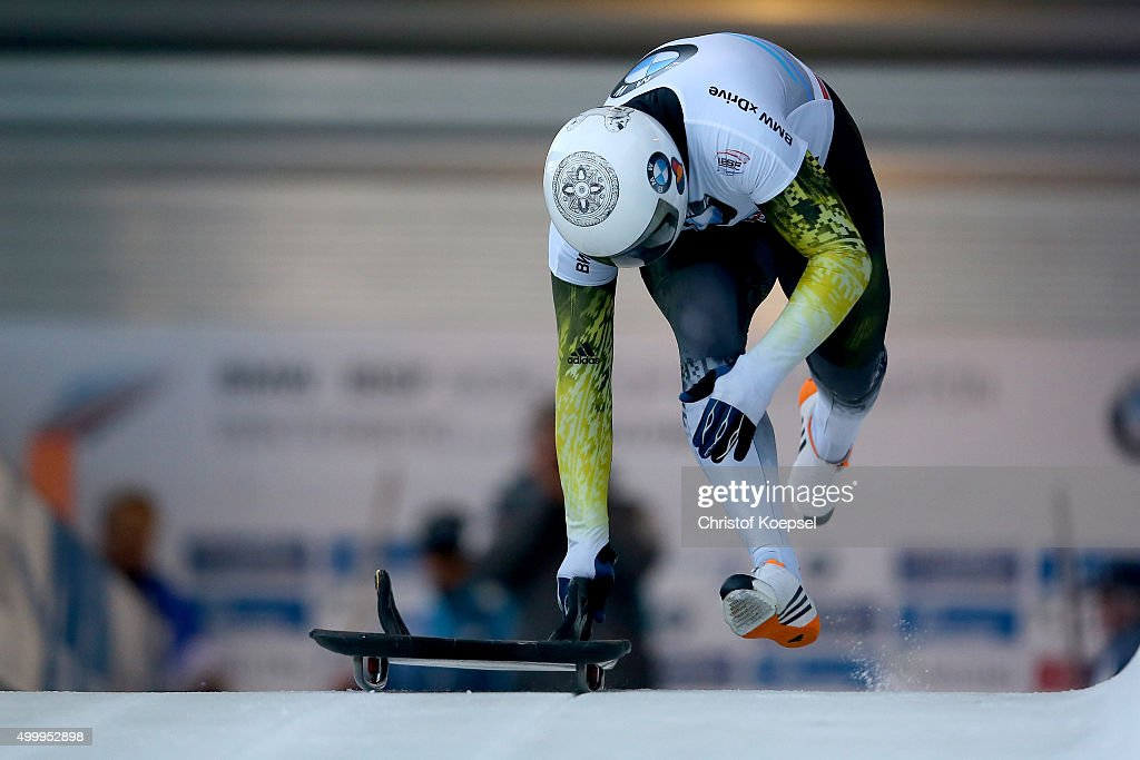 Dorin Velicu of Romania competes in his first run of the men's skeleton competition during the BMW IBSF Bob & Skeleton Worldcup at Veltins Eis-Arena on December 4, 2015 in Winterberg, Germany.