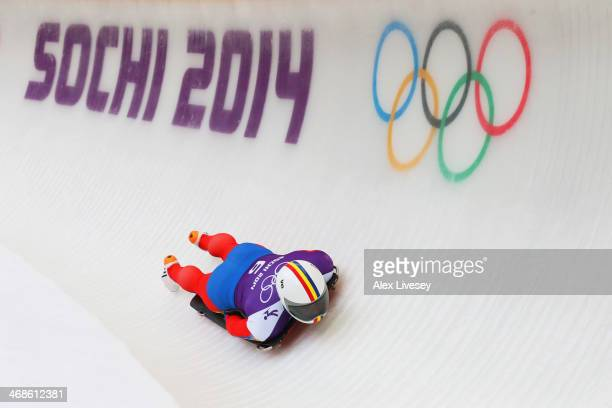 Dorin Velicu of Romania makes a run during a Men's Skeleton training session on Day 4 of the Sochi 2014 Winter Olympics at the Sanki Sliding Center...