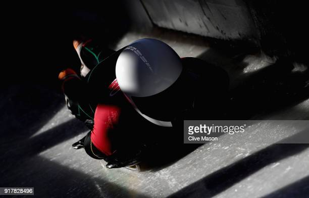 Dorin Velicu of Roumania trains during the Mens Skeleton training session on day four of the PyeongChang 2018 Winter Olympic Games at Olympic Sliding...