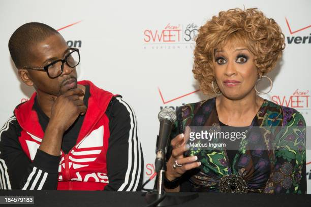 Dorinda ClarkCole speaking to press during Verizon's How Sweet the Sound 2013 with Donald Lawrence at Boisfeuillet Jones Atlanta Civic Center on...