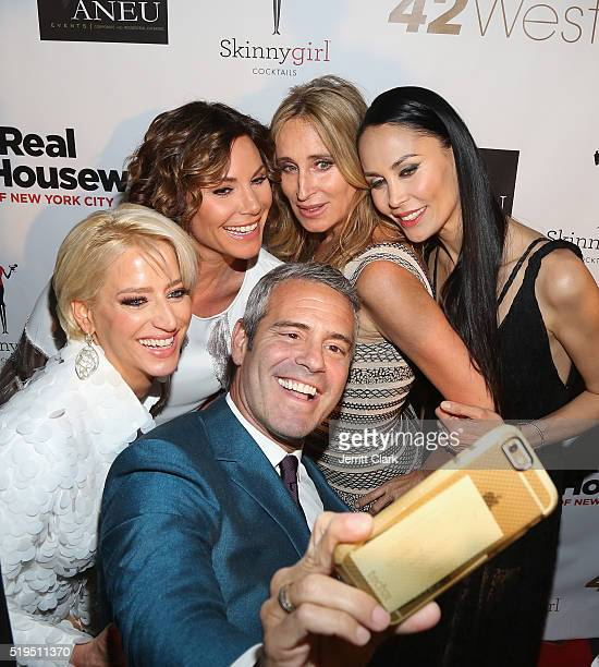 Dorinda Medley Luann de Lesseps Andy Cohen Sonja Morgan and Julianne Wainstein arrive at the 'The Real Housewives of New York City' Screening Party...