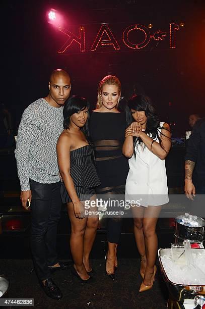 Dorion Renaud, Hadisha Haqq, Khloe Kardashian and Malika Haqq attend 1 OAK Nightclub Las Vegas at the Mirage Hotel & Casino on May 22, 2015 in Las...