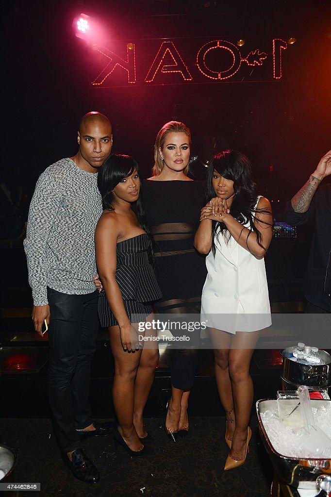 Dorion Renaud, Hadisha Haqq, Khloe Kardashian and Malika Haqq attend 1 OAK Nightclub Las Vegas at the Mirage Hotel & Casino on May 22, 2015 in Las Vegas, Nevada.