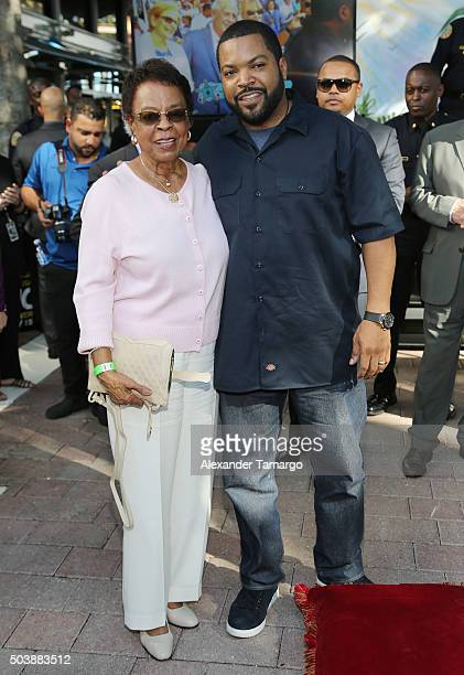 Doris Benjamin and Ice Cube are seen during their Miami Walk of Fame star presentation for the film Ride Along 2 at Bayside Marketplace on January 7...