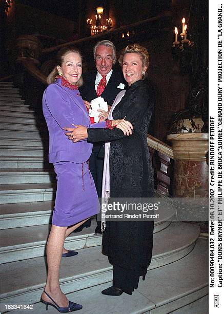 Doris Bryner and 'Philippe De Broca' 'Gerard Oury' film screening of 'La Grande Vadrouille' at the Garnier opera