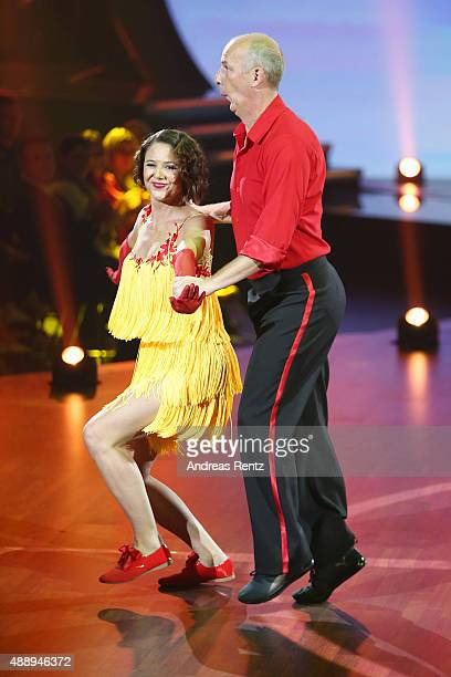 Doris Bueld and Mario Basler perform during the second show of the television competition 'Stepping Out' on September 18, 2015 in Cologne, Germany.