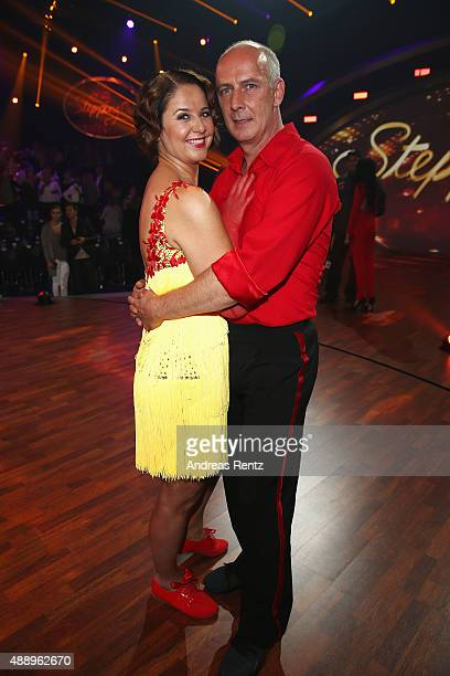 Doris Bueld and Mario Basler smile during the second show of the television competition 'Stepping Out' on September 18, 2015 in Cologne, Germany.