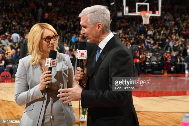 Doris Burke and Michael Breen announce the game between the Boston Celtics and Toronto Raptors on April 4 2018 at the Air Canada Centre in Toronto...