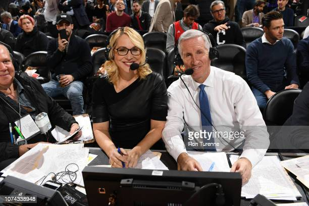 Doris Burke and Mike Breen provide commentary during the game between the Philadelphia 76ers and the Toronto Raptors on December 5 2018 at the...