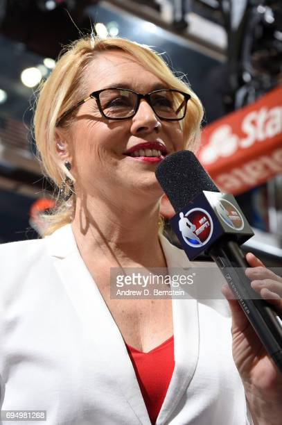 Doris Burke interviews players before the game between the Cleveland Cavaliers and Golden State Warriors in Game Four of the 2017 NBA Finals on June...