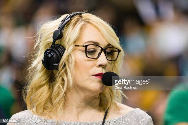 Doris Burke looks on before the game between against the Boston Celtics and the against the Washington Wizards at TD Garden on December 25 2017 in...