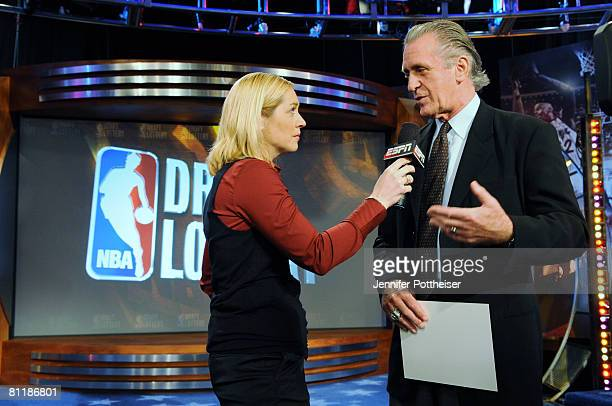 Doris Burke of ESPN interviews Pat Riley President of the Miami Heat during the 2008 NBA Draft Lottery at the NBATV Studios on May 20 2008 in...