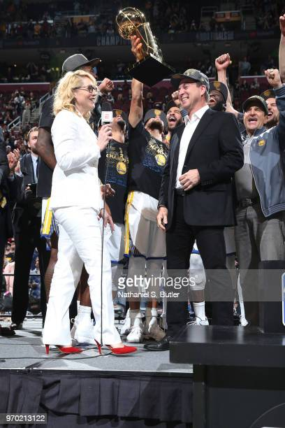Doris Burke speaks to Golden State Warriors owner Joe Lacob after Game Four of the 2018 NBA Finals against the Cleveland Cavaliers on June 8 2018 at...