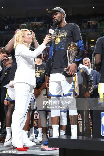 Doris Burke speaks to Kevin Durant of the Golden State Warriors after Game Four of the 2018 NBA Finals against the Cleveland Cavaliers on June 8 2018...