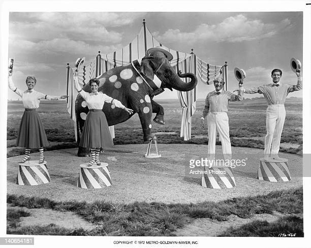 Doris Day Martha Raye Jimmy Durante and Stephen Boyd performing with elephant in a scene from the film 'Billy Rose's Jumbo' 1962