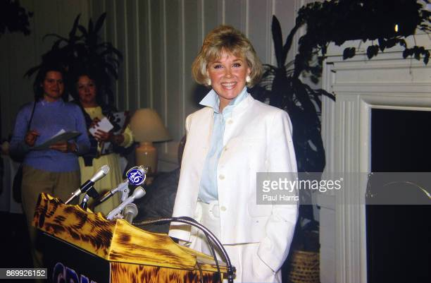 Doris Day prepares to speak at a press conference at the dog friendly hotel she owns in Carmel California July 16 1985
