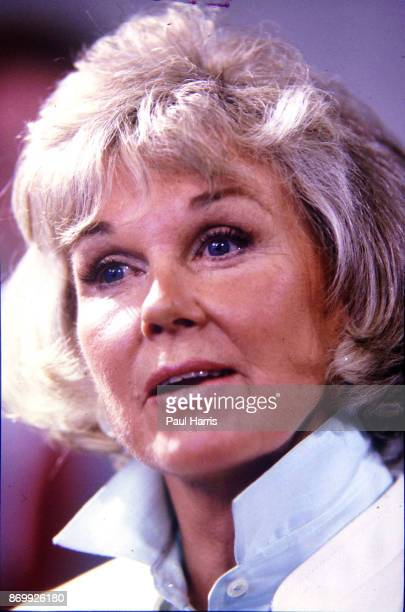 Doris Day speaking at a press conference at the dog friendly hotel she owns in Carmel California July 16 1985