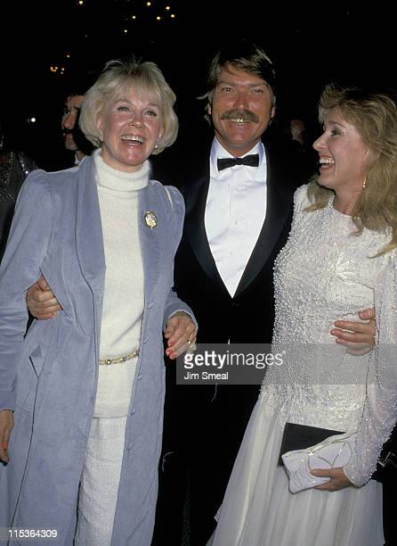 Doris Day with son Terry Melcher and his wife during 1st Golden Cypress Award James Stewart at Hyatt Regency Hotel in Monterey California United...