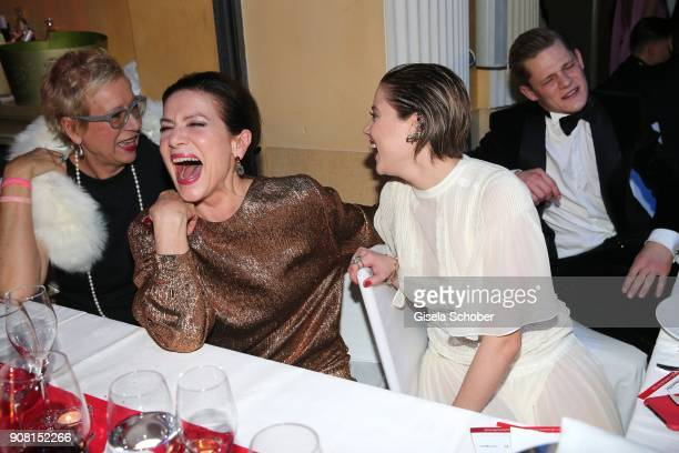 Doris Doerrie Hannelore Elsner and Jella Haase during the German Film Ball 2018 party at Hotel Bayerischer Hof on January 20 2018 in Munich Germany