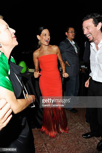 Doris Doerrie Iris Tanz and producer Oliver Berben attend the Variety Award 2011 during the 68th Venice Film Festival at Hotel Danieli on September 3...