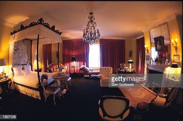 Doris Duke''s bedroom decorated with a suite of Charles X mother of pearl furniture in the summer home called Rough Point July 2000 located near the...