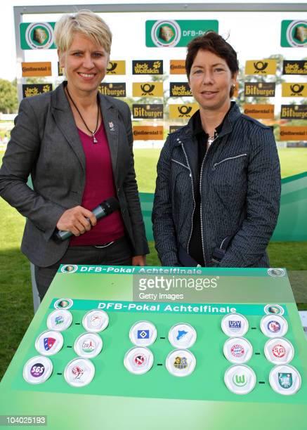 Doris Fitschen and Maren Meinert during the draws of the next round of German cup during the Women's bundesliga match between FCR Duisburg and FFC...