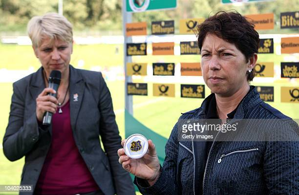 Doris Fitschen and Maren Meinert during the draws of the next round of german cup during the Women's bundesliga match between FCR Duisburg and FFC...
