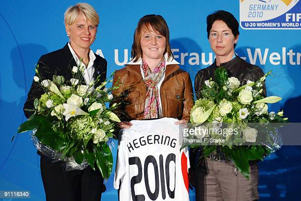 Doris Fitschen manager for the German Womens National Team Marina Hegering player of Germanys Womens U20 National Team and Maren Meinert head coach...