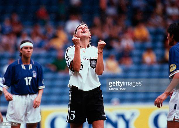 Doris Fitschen of Germany reacts during the UEFA Women's Euro 1997 final match between Italy and Germany on July 7 1997 in Oslo Norway