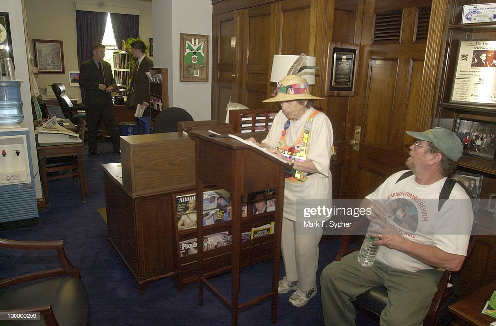 Doris Haddock, better known as 'Granny D,' spoke in Rep. Robert Ney's, R-Ohio office in the Longworth building on Wednesday afternoon. Haddock was reading a list of 'double givers' of 'soft money,' by industry. The list and tables were 99 pages long. Here, the only attention that the aging protestor could muster was that of her son, Jim Haddock.