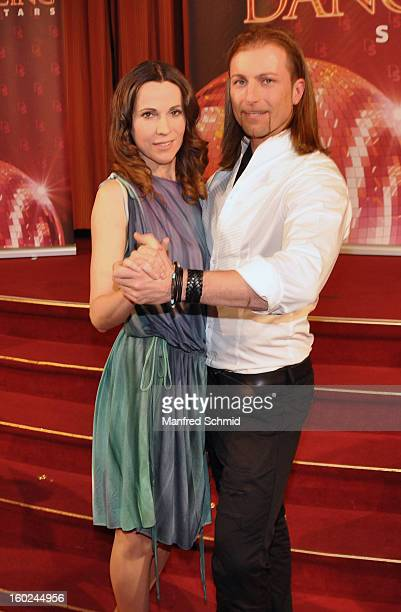 Doris Schretzmayer and Gerhard Egger are presented as dance partner at a press conference during the eighth season of TV show 'ORF Dancing Stars...
