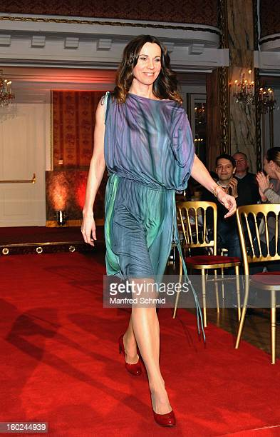 Doris Schretzmayer is presented as a contestant at a press conference during the eighth season of TV show 'ORF Dancing Stars 2013' on January 28 2013...