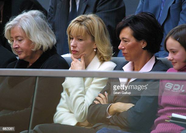 Doris Schroeder, wife of German Chancellor Gerhard Schroeder, follows a session of the Bundestag as members argue the deployment of German troops to...