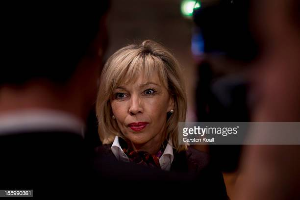 Doris SchroederKoepf wife of former German Chancellor Gerhard Schroeder speaks to the media at the state convention of the SPD Lower Saxony on...