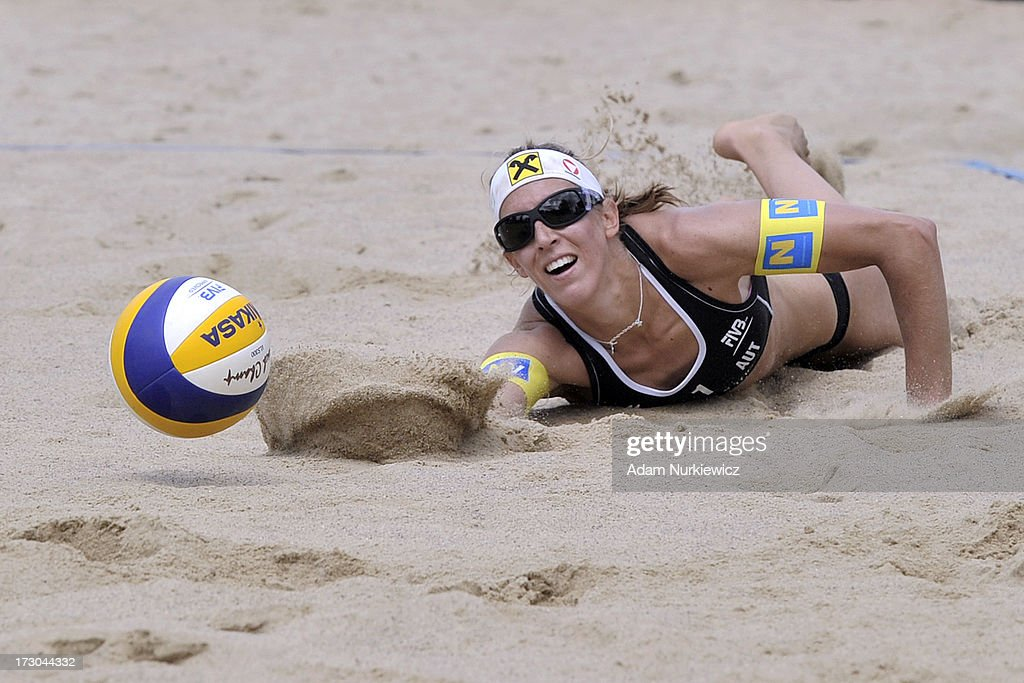 Doris Schwaiger from Austria digs for the ball during the match between Austria and Austria during Day 5 of the FIVB World Championships on July 5, 2013 in Stare Jablonki, Poland.