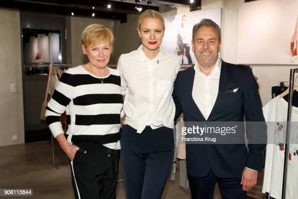 Doris Straetker Franziska Knuppe and Klaus Friedrich during the presentation of her new Spring/Summer 2018 collection for Bonita at P7 Gallery on...